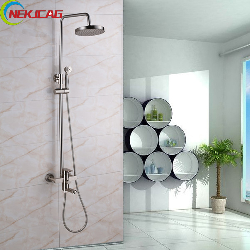 Wall Mounted Brushed Bathroom Shower Set Brass Head Shower + Hand Shower +Mixer Tap Hot and Cold Water Spout