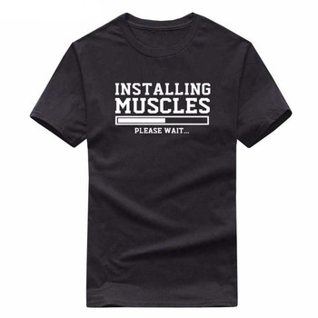 Men's T-shirts summer 2018 printed INSTALLING MUSCLES funny T-shirt fashion brand clothing crossfit t shirt men homme fitness