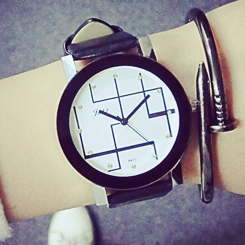 Korea Minimalist art Personalized Leather Bracelet Unisex Line Dial Couple Watches innovator cosmetics белая паста для бровей sexy brow white paste 10 г