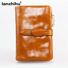2016 Vintage Genuine Leather Wallet Zipper Short Oil Wax Cowhide Ladies Leather Wallet Coin Purse Credit Card Woman Wallet Small