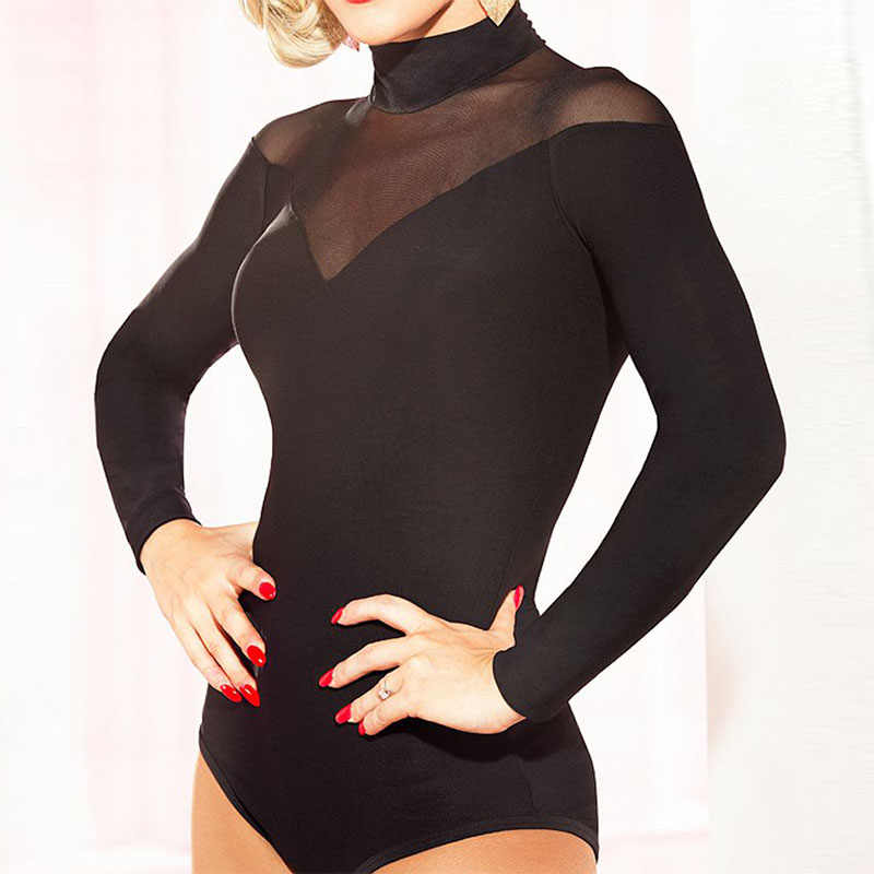 f380e707ec Sexy Women Black Long Sleeves Ballroom Latin Dance Tops Cha Cha Samba Adult Leotard  Dancing Wear