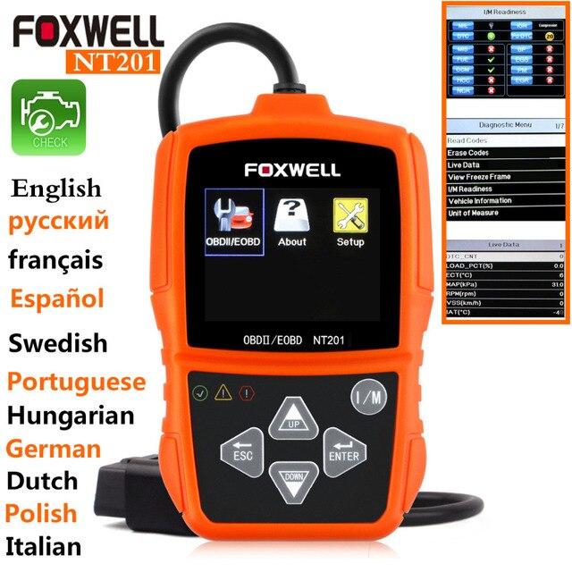 НОВЫЙ OBD2 Сканер Код Неисправности Читатель Оригинальный Универсальный Foxwell NT201 авто диагностический сканер Инструмент obd2 odb2 сканер автомобиля