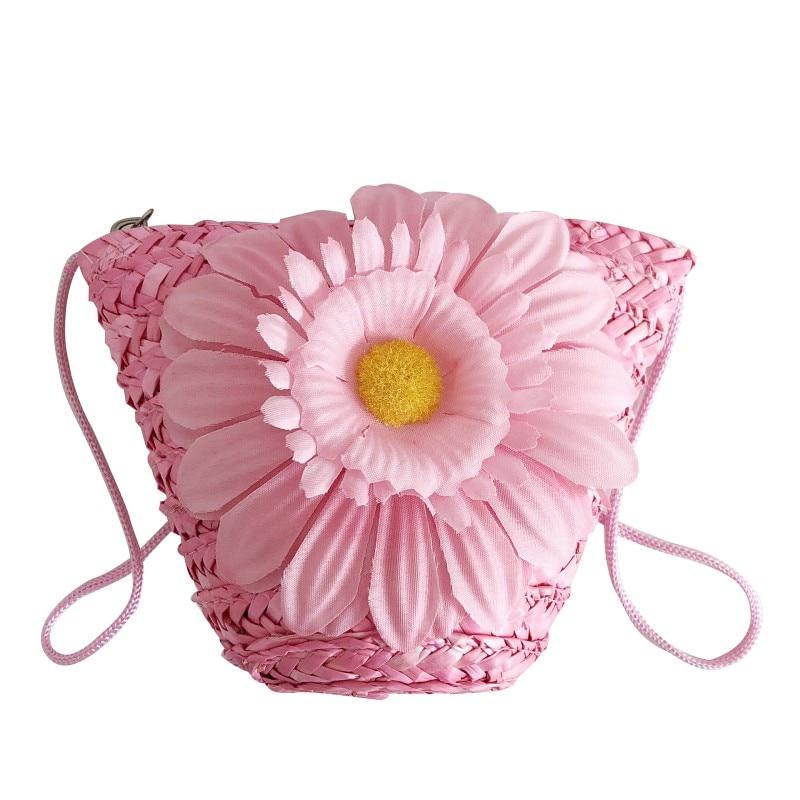 Children Toys Flower Design Zipper Cross-body Handbag Fashion Girls Kids Straw Shoulder Messenger Bag Toys New