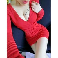 Women S Sexy Nightclub Low Cut Long Sleeve Significant CHEST Deep V Neck Fold Thin Tight