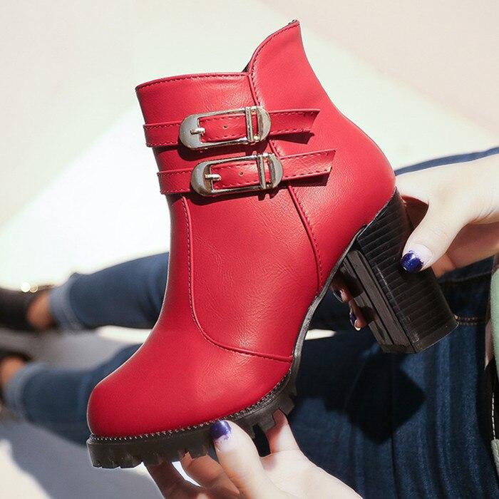 Haute Femmes De Style Épais Cuir Talons Belle Talon Chaussures Courtes rouge Mode Noir Cheville En Bottes Britannique RTIxqrwR