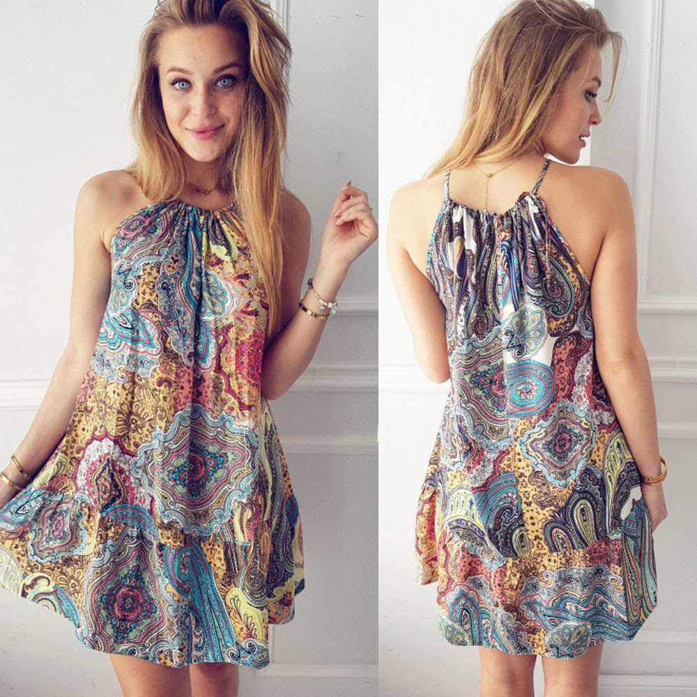 Женское летнее винтажное длинное вечернее платье-макси в стиле бохо, пляжное платье с цветочным принтом, женские повседневные шикарные пла...