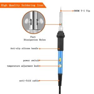 Image 2 - Toolour eu/us 60 w 온도 조절 전기 납땜 인두 키트 백라이트 디지털 멀티 미터 솔더 보조 세트 용접 수리 도구