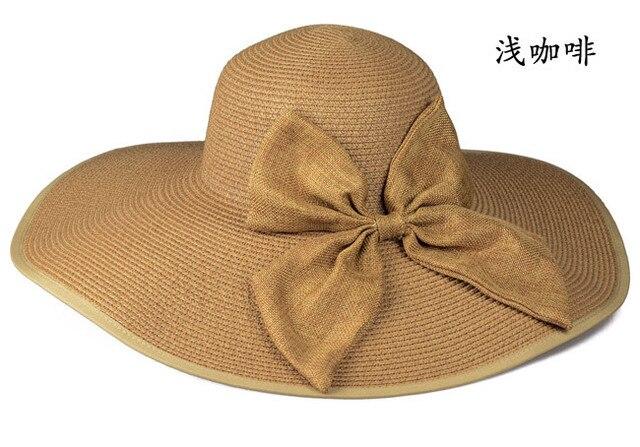 2017 Hot sale Recreational style summer large brim straw hat adult women  girls sun hat uv protect big bow summer beach hat 5e597807774e