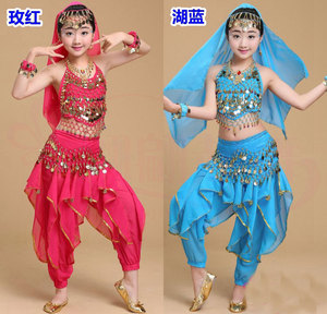 Image 3 - Cô gái Múa Bụng Trang Phục Bộ Trẻ Em Ấn Độ Nhảy Đầm Trẻ Em Bollywood Dance Trang Phục cho Bé Gái Hiệu Suất Nhảy Mặc 6 Màu