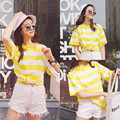 striped short sleeved T-shirt Summer Institute wind small fresh all-match leisure candy colored clothes on Han Banchao