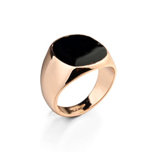 Gold Or Silver Italina Ring With Glossy Black Square