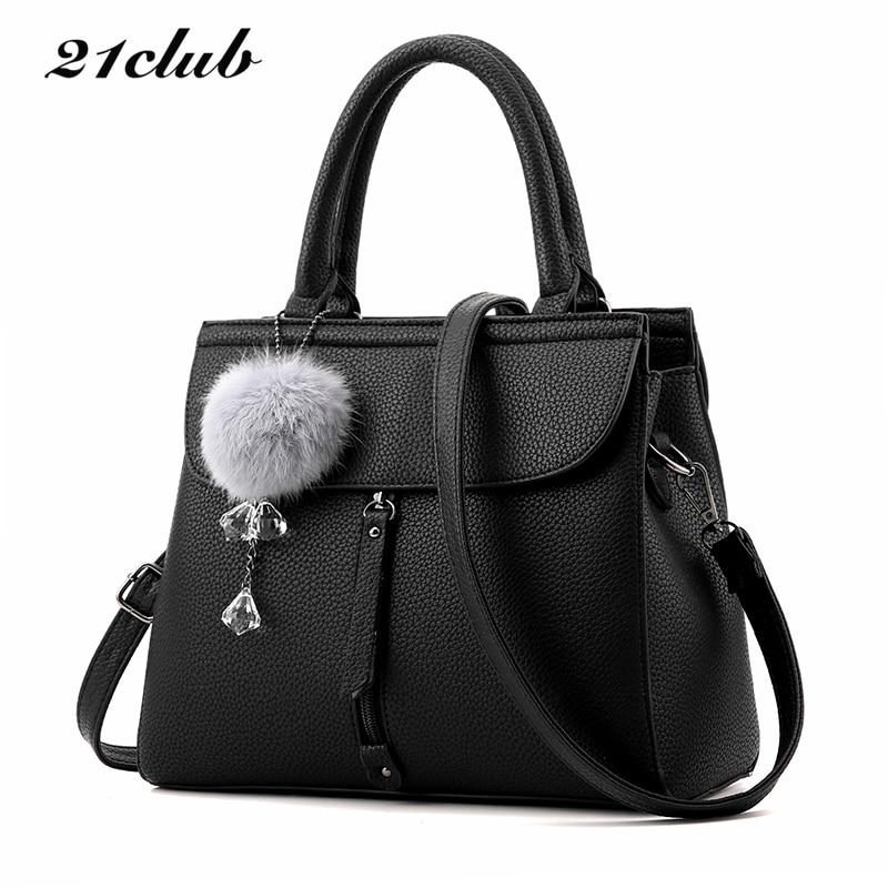 купить 21club brand women fur ball ornaments totes zipper medium handbag hotsale lady party purse new shoulder messenger crossbody bags онлайн