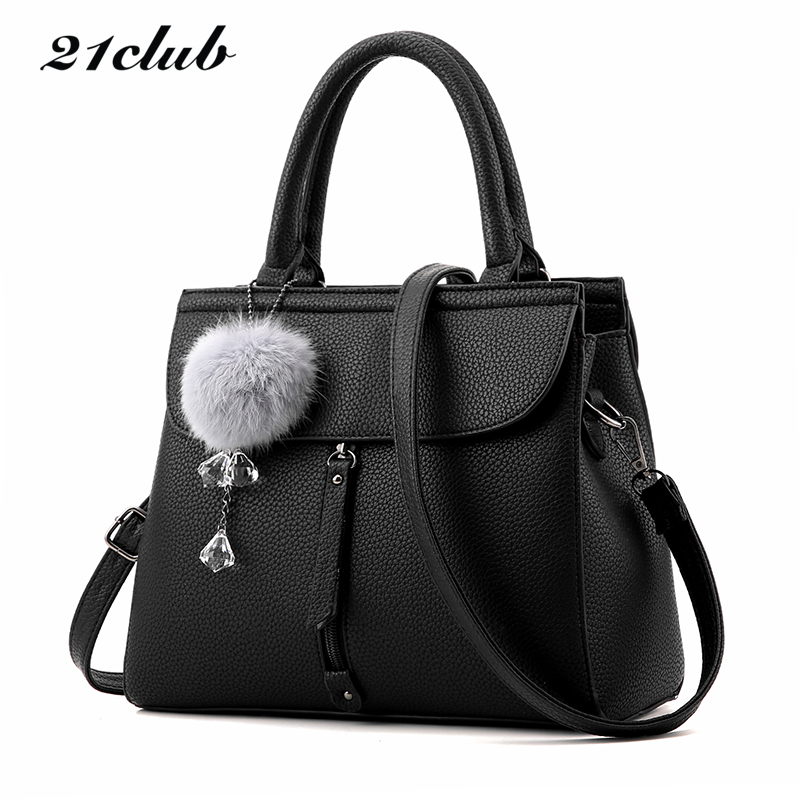 21club brand women fur ball ornaments totes zipper medium handbag hotsale lady party purse new shoulder messenger crossbody bags