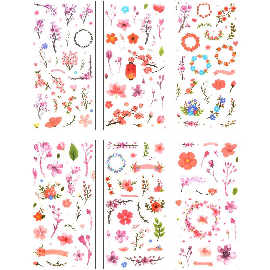 6 Pcs/pack Flowers Cherry Sakura Decorative Stickers Adhesive Stickers DIY Decoration Diary Stationery Stickers Children Gift