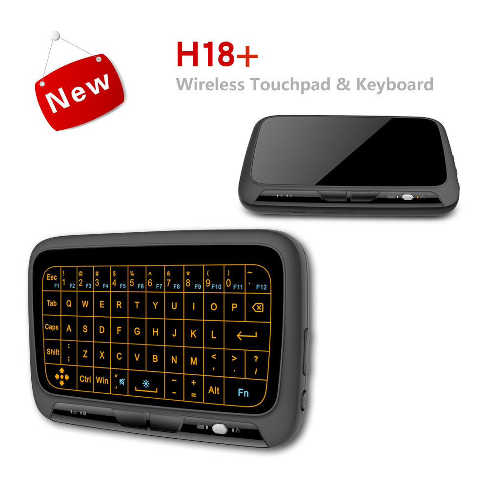 H18 Wireless Air Mouse Mini Keyboard Full screen touch 2 4GHz QWERTY Keyboard Touchpad with Backlight