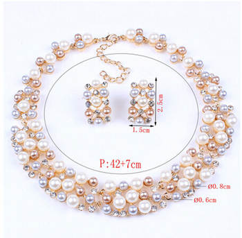 Fashion Pearl Gold Crystal Jewelry Set 4