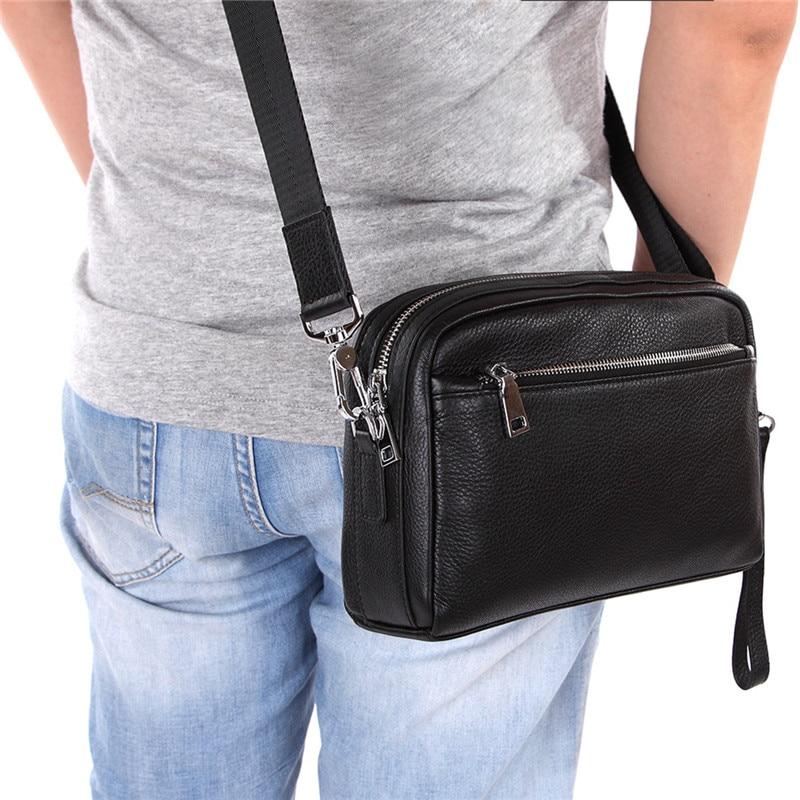 Nesitu Hohe Qualität Schwarz Echtes Leder Kreuz Körper Kleine Männer Messenger Taschen Männlichen Schulter Kupplung Tasche M8127 FüR Schnellen Versand
