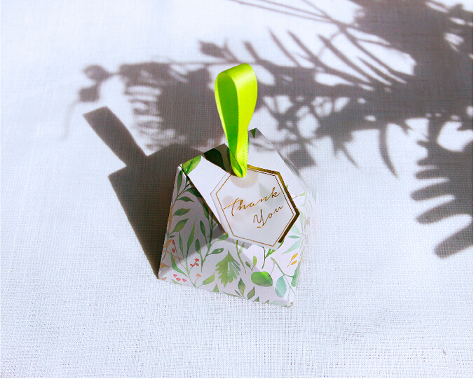 New Diamond Shape Green leaves Forest style Candy Box Wedding Favors And Gift Boxes Party Supplies thanks Gift Chocolate Package (10)