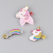 Cheaper Unicorn Baby Hairclip European and American style children hair decoration pony rainbow clip