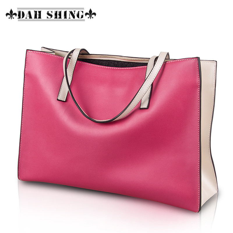 Candy color womens genuine leather shoulder bag large shopping bags handbag Tote zipper closure
