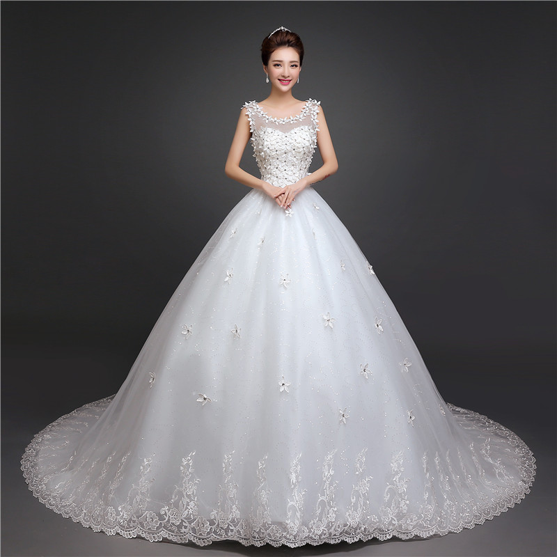 New Arrival O Neck Applique Long Train Wedding Dress Elegant Slim Lace Up Plus Size Sleeveless Wedding Gown Vestido De Noiva L