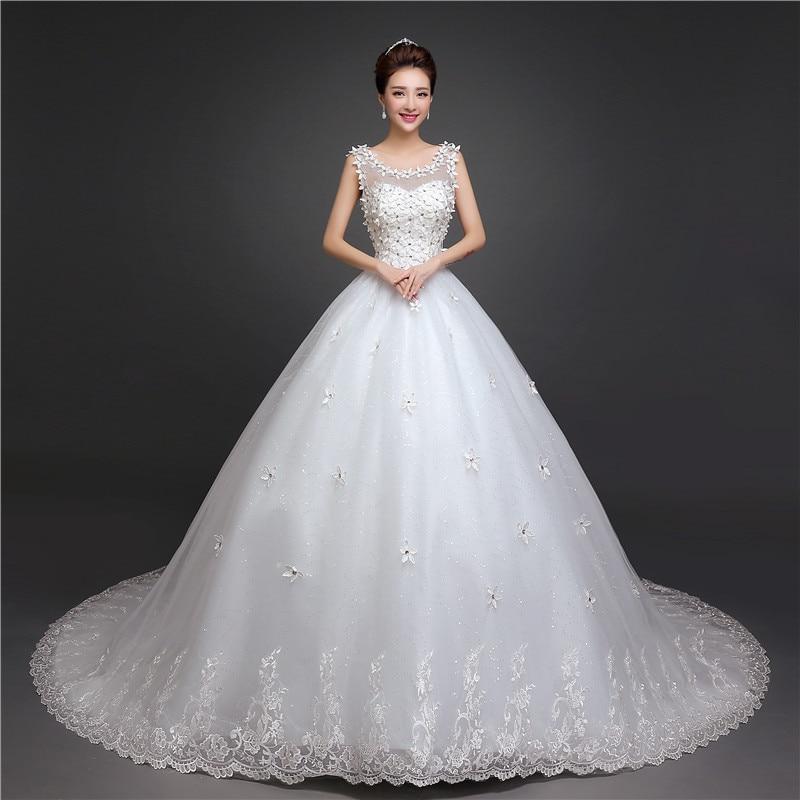New Arrival O Neck Applique Long Train Wedding Dress Elegant Slim Lace Up Plus Size Sleeveless Wedding Gown Vestido De Noiva L