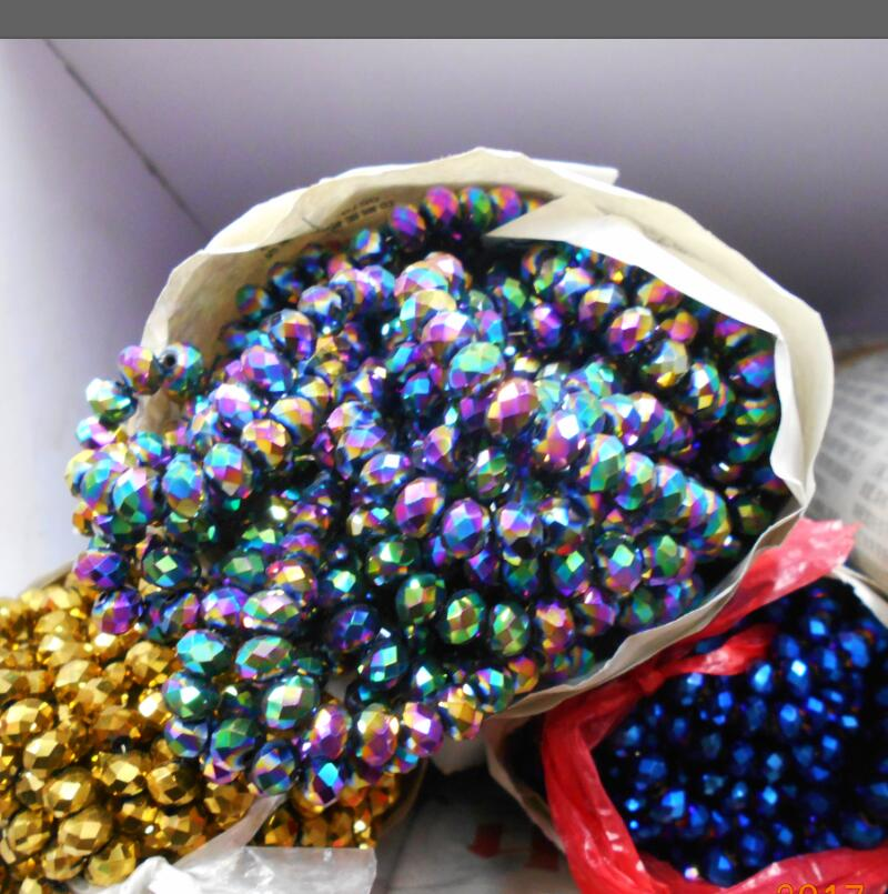 FLTMRH Green Purple Color 3 4mm 145pcs Rondelle Austria faceted Crystal Glass Beads Loose Spacer Round
