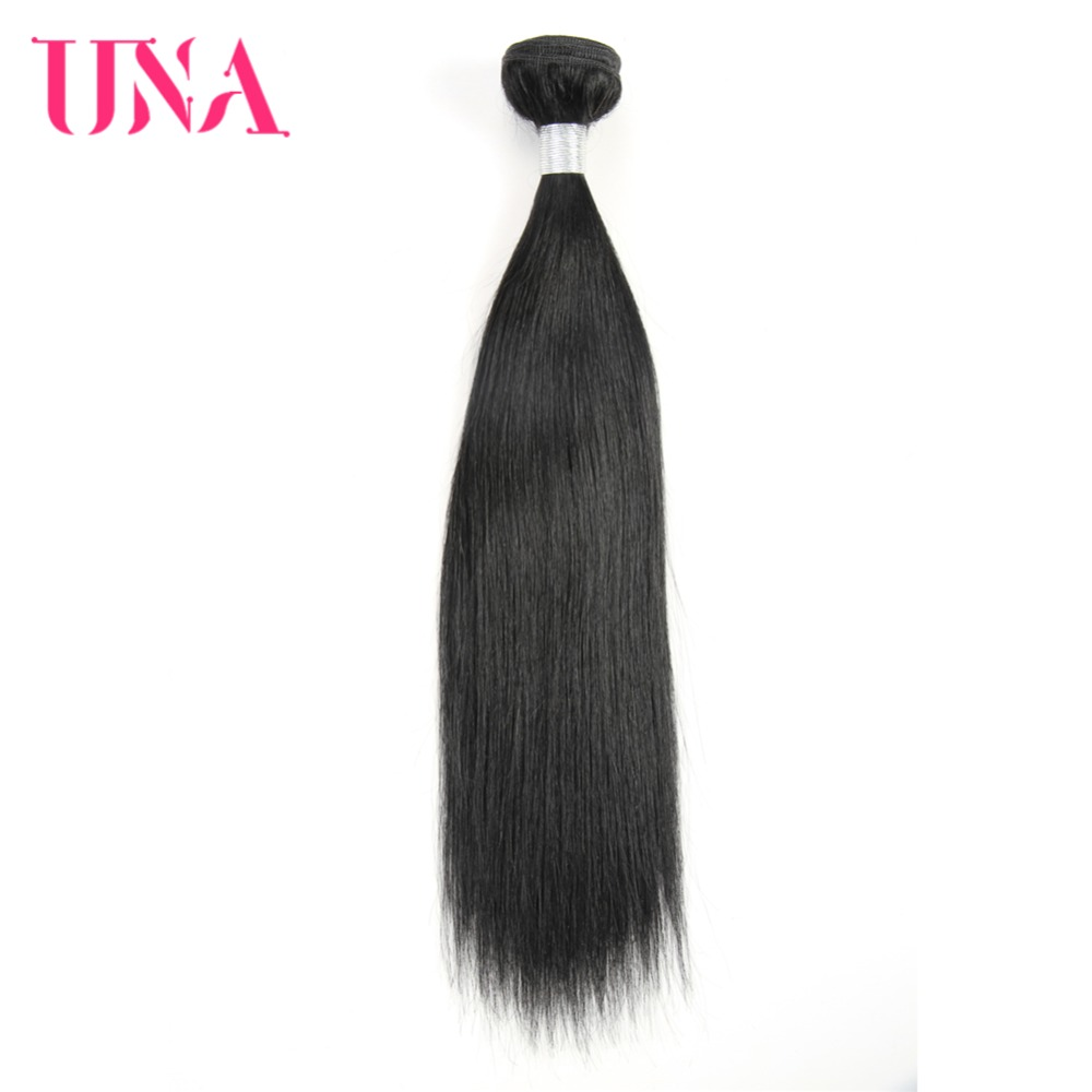 UNA cilvēka matu 1PC # 1 melnā krāsā matiņu brazīliešu - Cilvēka mati (melnā krāsā)