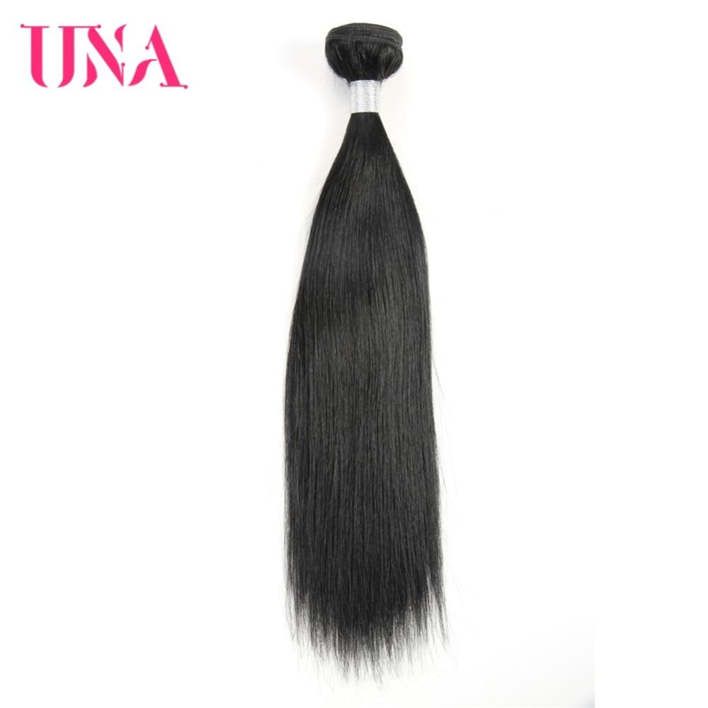 UNA Rambut Manusia 1 PC # 1 Warna Hitam Rambut Brasil Lurus Non-remy - Rambut manusia (untuk hitam)