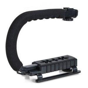 Image 3 - U 그립 트리플 슈 마운트 비디오 액션 DSLR 카메라 그립 비디오 캠코더 안정화 핸들 사진 selfie 스틱 카메라