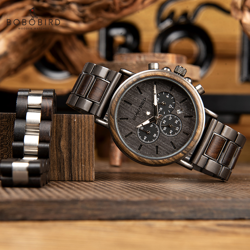 BOBO BIRD Wooden Timepieces Men Watches Bracelet Set Chronograph Military in Wooden Box relogio masculino OEM Drop Shipping