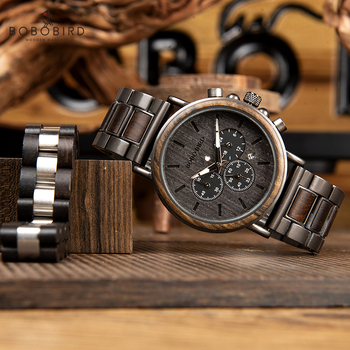 BOBO BIRD Wooden Timepieces Men Watches Bracelet Set Chronograph Military in Wooden Box relogio masculino OEM Drop Shipping Network Switches