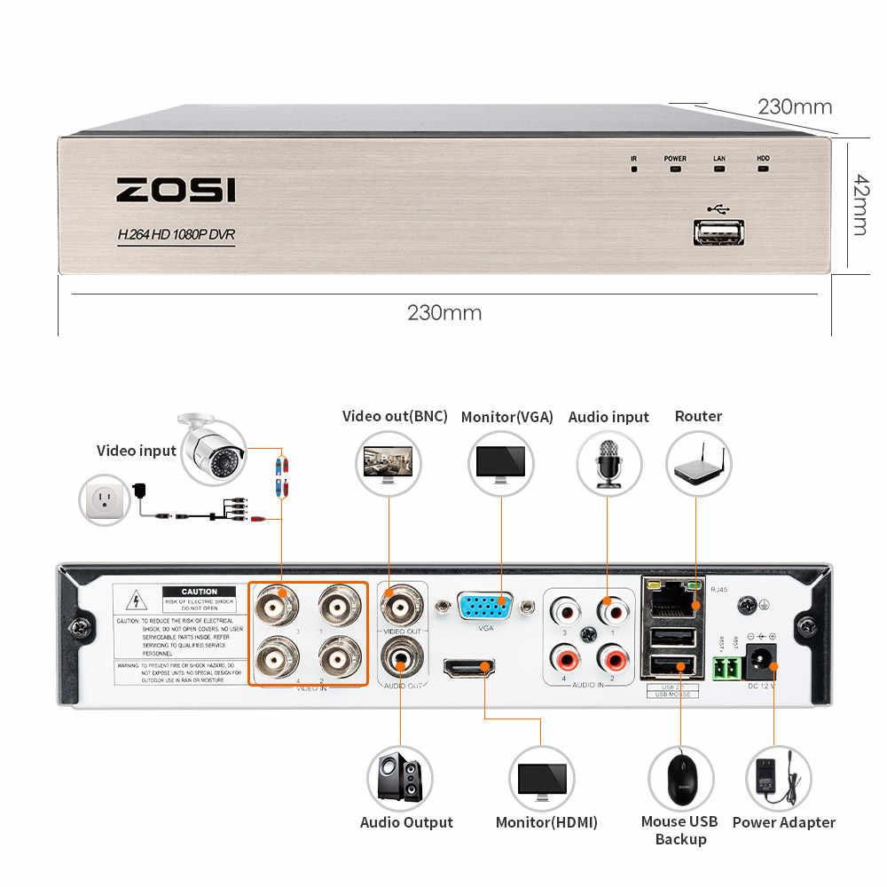 ZOSI 1080P การเฝ้าระวังวิดีโอระบบ 4CH กล้องวงจรปิดความปลอดภัยชุด 4X 2.0MP HD Home Security กล้อง Super Night vision