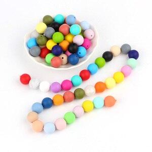 Image 2 - * 500 sztuk dziecko kulki silikonowe BPA bezpłatne 15mm kule gryzaki dla niemowląt DIY łańcuszek smoczka narzędzia do żucia gryzaki dla niemowląt