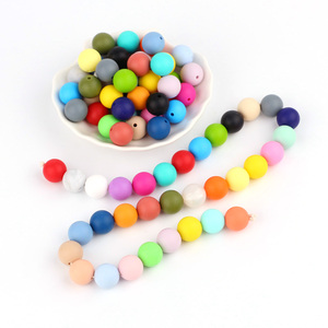Image 2 - * 500Pcs Baby Silicone Beads BPA Free 15mm Round Beads Baby Teething Toys DIY Pacifier Chain Tools Chewable Baby Teethers