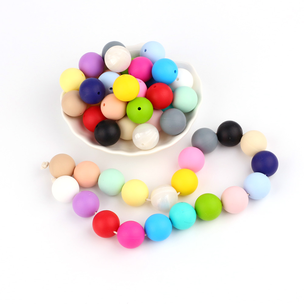 TYRY.HU 10pcs Silicone Round Beads 15mm Baby Teething Beads Necklace Pacifier Chain Bracelet DIY Jewelry Silicone Beads BPA Free