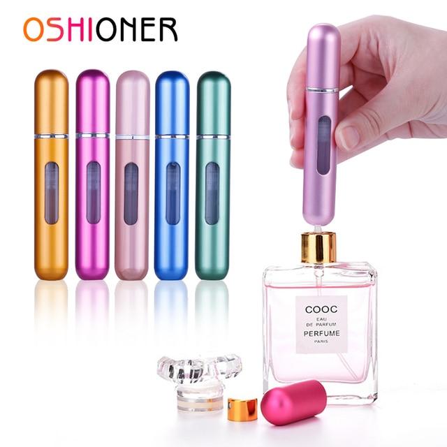 OSHIONER 8 ml de Spray de Perfume recargable de aluminio de la botella del atomizador del aerosol del viaje portátil envase cosmético botella de Perfume