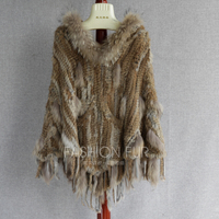 FXFURS Genuine Rabbit Fur Poncho with Raccoon Dog Hood Fur Cloak Cape Rabbit Fur Outerwear Fashion Style Pullover