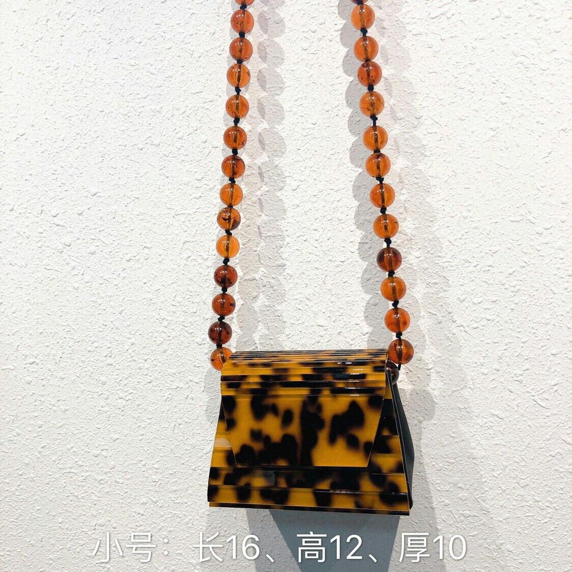 Léopard ambre acrylique résine sacs perles femmes Messegner sacs boîte trapézoïdale femme bandoulière sacs à bandoulière 2019 marque de luxe sac à main