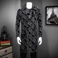 2016 de Inverno Homens do Revestimento de Trincheira Breasted único De Veludo Bordado Artesanato Homem Outerwear Jaqueta Corta-vento Design Floral M-XXXL #850