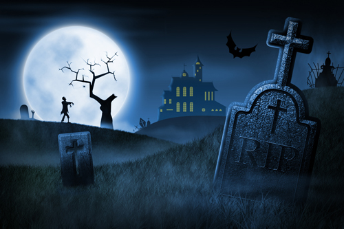 2016 New Arrival Horizontal Halloween Photography Backdrops The gloomy cemetery Photo Background For Hallowmas Party XT-4409 the cemetery boys