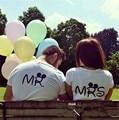 Mr Mrs pareja Ropa 2016 de La Moda Carta Camisetas Impresas Hombres de Las Mujeres de Manga Corta de Verano Camisetas Casual Camisa Pareja
