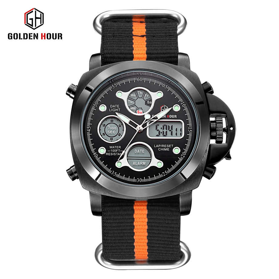 Reloj Hombre GOLDENHOUR Outdoor Sport Watch Men Canvas Strap Watches Auto Date Display Man Wrist Watch Relogio Masculino
