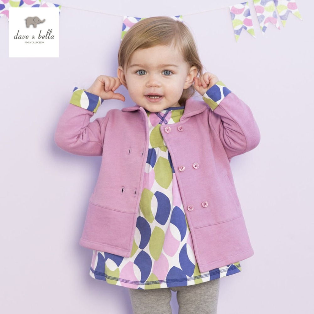 DB1743 davebella spring autumn baby girls coat infant clothes toddle coat girls outerwear kids jacket children outerwear