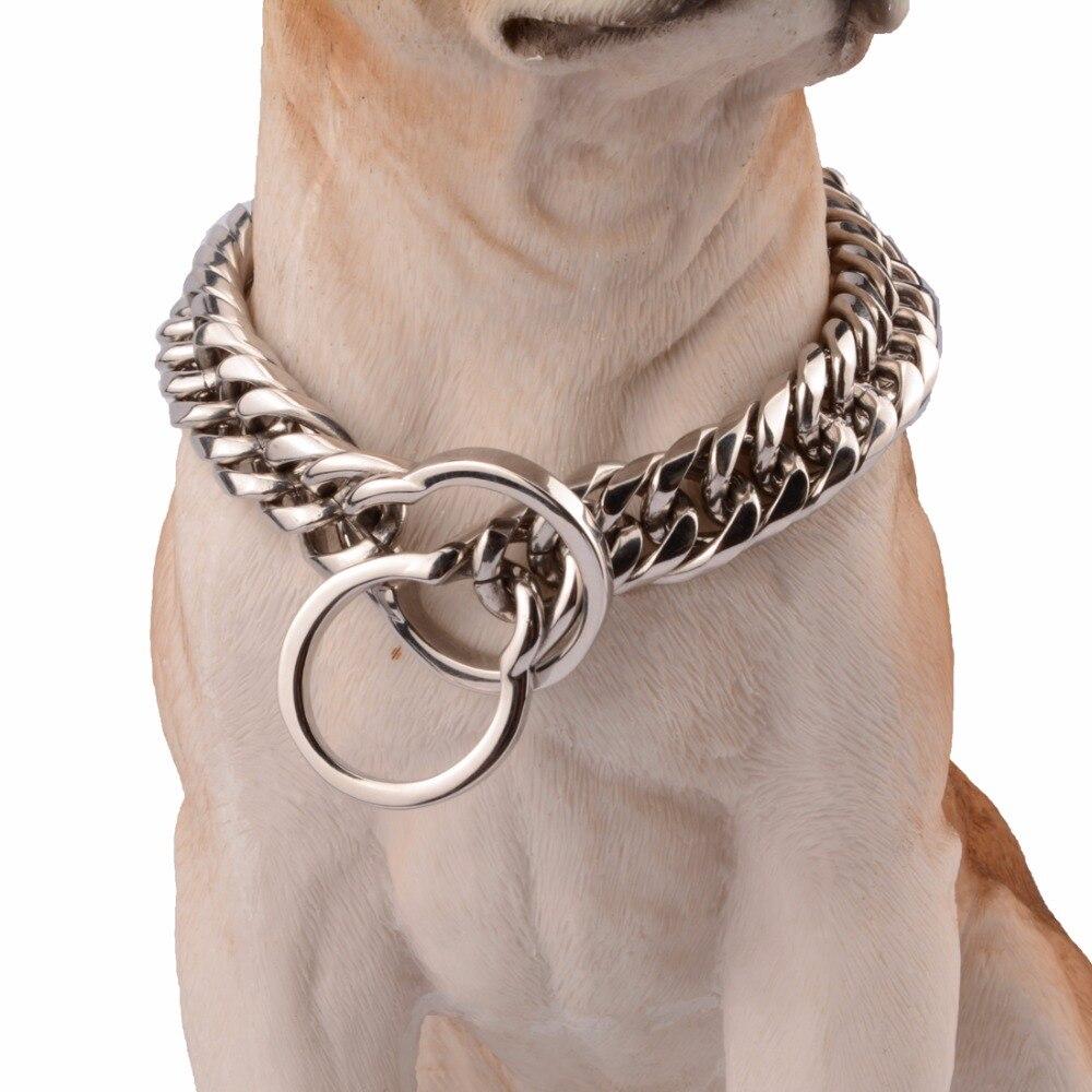 16/18mm couleur argent lourd acier inoxydable Double chaîne de bordure cubaine collier pour chien collier ras du cou taille personnalisée 14-34 pouces