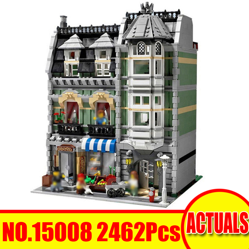 15008 2462Pcs Lepin City Street Figures Green Grocer Model Building Kit Blocks Bricks Set Toy For Children Compatible With 10185 dhl lepin15008 2462pcs city street green grocer model building kits blocks bricks compatible educational toy 10185 children gift