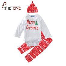 Baby Xmas Rompers Sets Toddler Girls Cotton Merry Christmas Print font b Bodysuit b font Pants