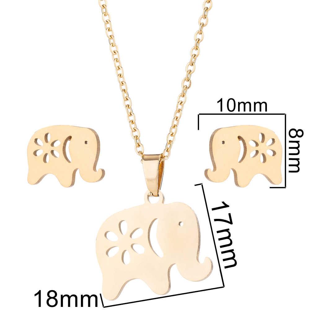 SMJEL Animal De Aço Inoxidável Colares para As Mulheres Crianças Moda Conjunto de Jóias de Ouro Elefante Gato Borboleta Colares Brincos brincos