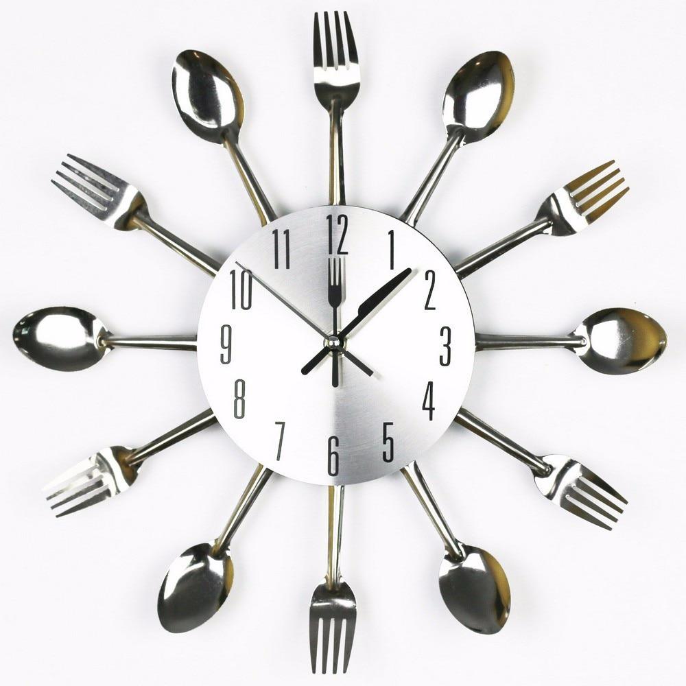 3D DIY Wall Clock Modern Sliver Cutlery Kitchen Utensil Clock Spoon ...