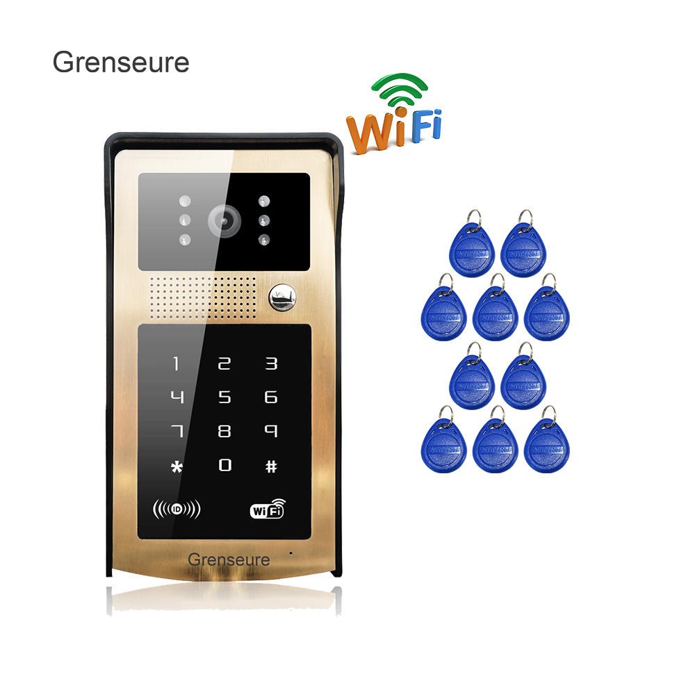 Free Shipping RFID Code Keypad Unlock Wireless Wifi Video Intercom Door Phone Metal Doorbell for Phone Remote Monitor / Unlock oribel cтульчик для кормления cocoon oribel plum